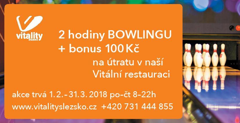2 hodiny bowlingu + bonus 100Kč v restauraci